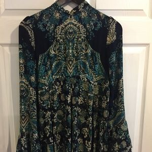Navy & Green Floral Free People Tunic Top Sz S